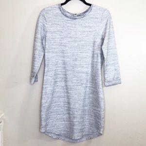 Gap grey marled sweater mini dress zip up back